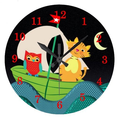 The Owl And The Pussy Cat Cute Kids Clock