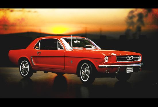 64 Ford Mustang, Poppy Red - first car I ever drove!  Mom taught me to drive in it.  What a sweet ride it was!