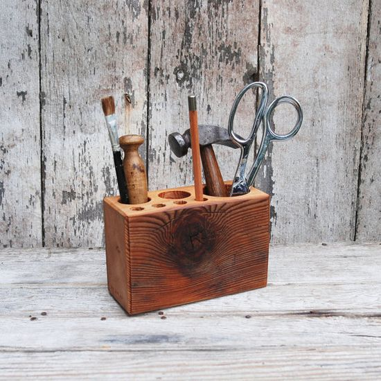 Desk caddy The Original rustic reclaimed wood Medium by PegandAwl, $50.00