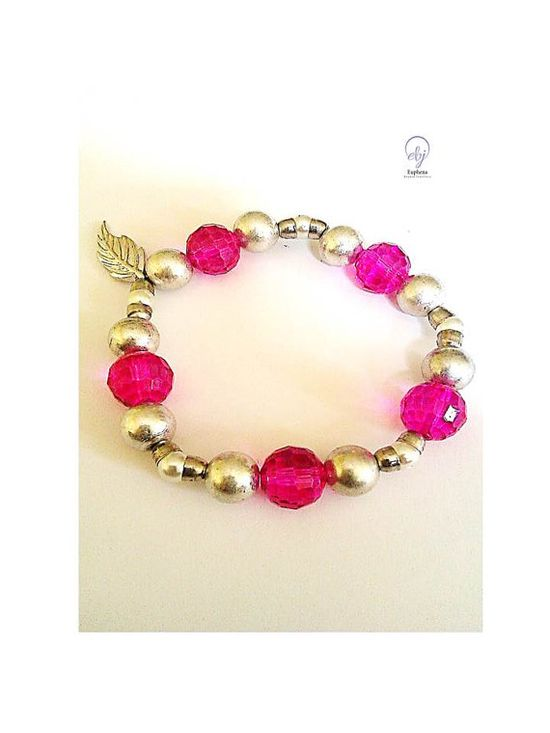 Pink Crystal and Silver Lustre Bead Stretch Bracelet Connected to  Small Metal Cups and White Bead - Upcycle Jewellery - £20.00