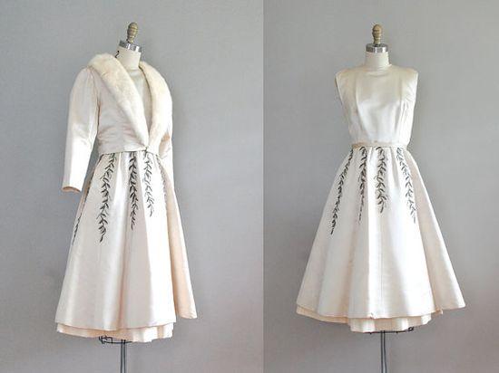 vintage 1950s Luminous Love dress for the winter bride