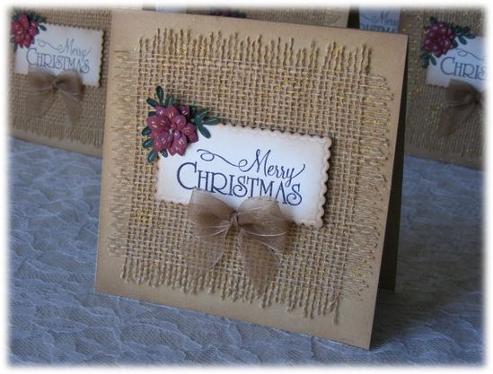 Handmade Christmas Card with burlap 3D flower and by nuts4mccoy, $3.95