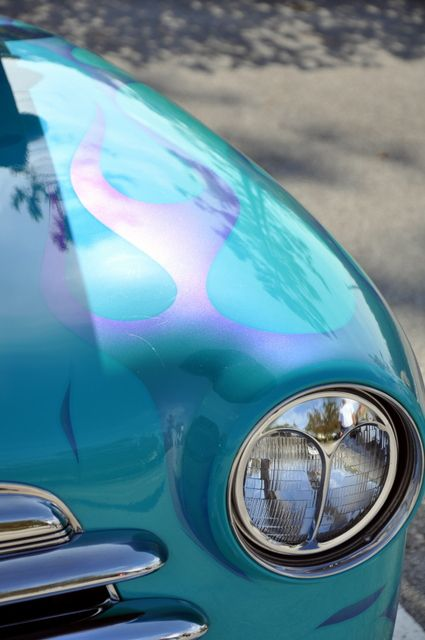 turquoise car gost flame