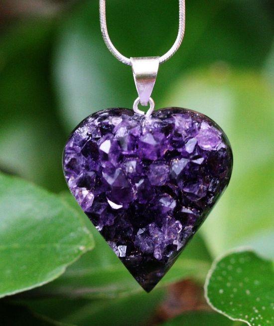 Amethyst Pendant Heart Dark Purple Hand by GlimmeringGems