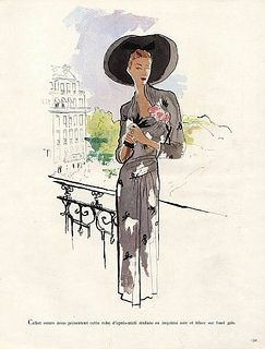 A timelessly elegant fashion illustration from 1947. #vintage #1940s #fashion #illustration #dress #hat