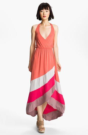 Felicity & Coco Colorblock High/Low Halter Maxi Dress