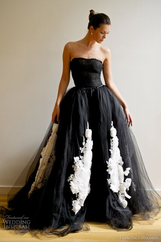 francesca-miranda-spring-2013-vera-black-wedding-dress-ball-gown-overskirt