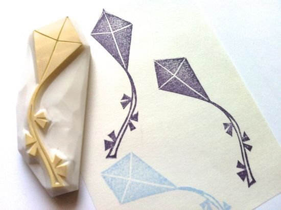 new! kite rubber stamp. designed and hand carved by talktothesun. available at www.talktothesun....