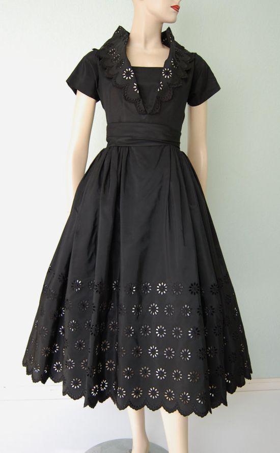 1950s Black Taffeta Belted Dinner Dress with Eyelet Design #partydress #vintage #frock #retro #teadress #romantic #feminine #fashion