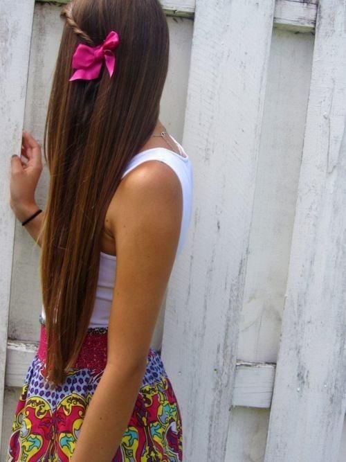 Bow on Straight Hair
