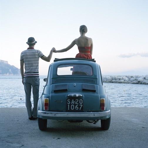 love +  blue vintage car