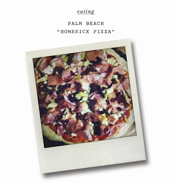 "THE LOVE LIST: Palm Beach ""Homesick Pizza"" - prosciutto, gorgonzola, artichokes, and sun dried tomatoes.  #recipe #cooking #eating"