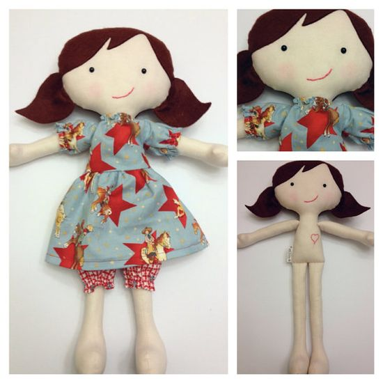 Juniper  - Handmade Fabric Doll 16""
