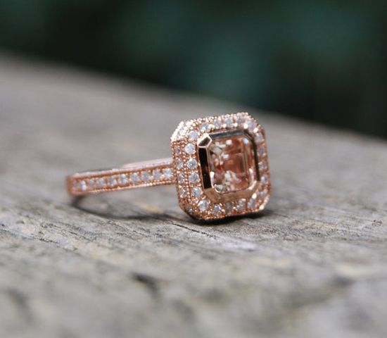 Champagne peach sapphire diamond ring 14k rose gold