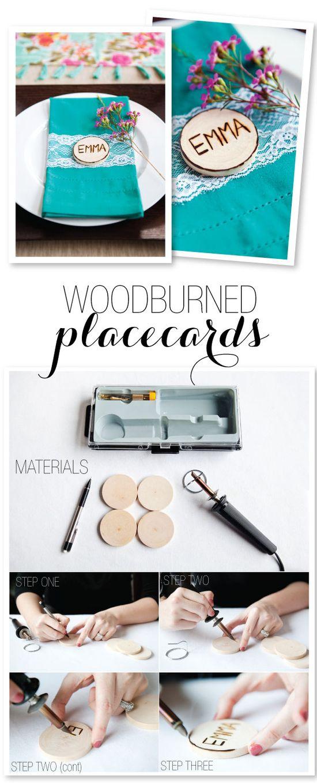 Wood-burned Place card DIY  Photography: helmutwalker.com/ Design: www.stylingbyshaw...