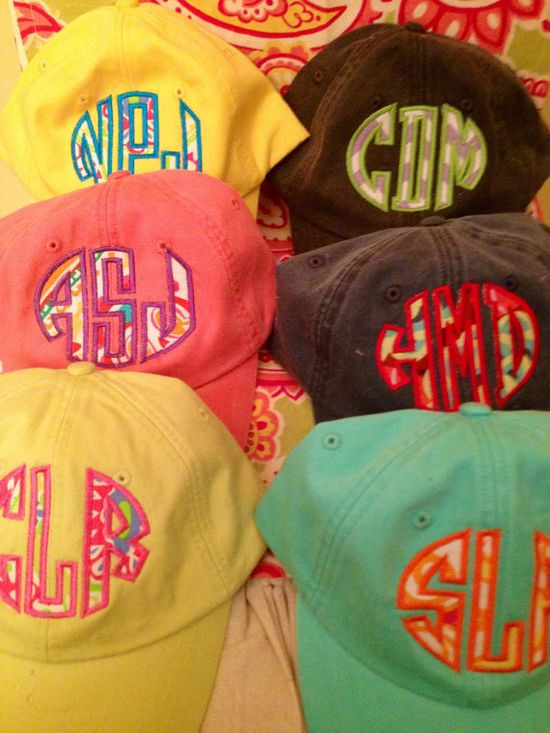 Ladies Monogrammed Fabric Applique Baseball Cap. Personalized. Embroidered. For Mom, Bride to be, Bridesmaid SUMMER SPRING BEACH $20.50 #monogram