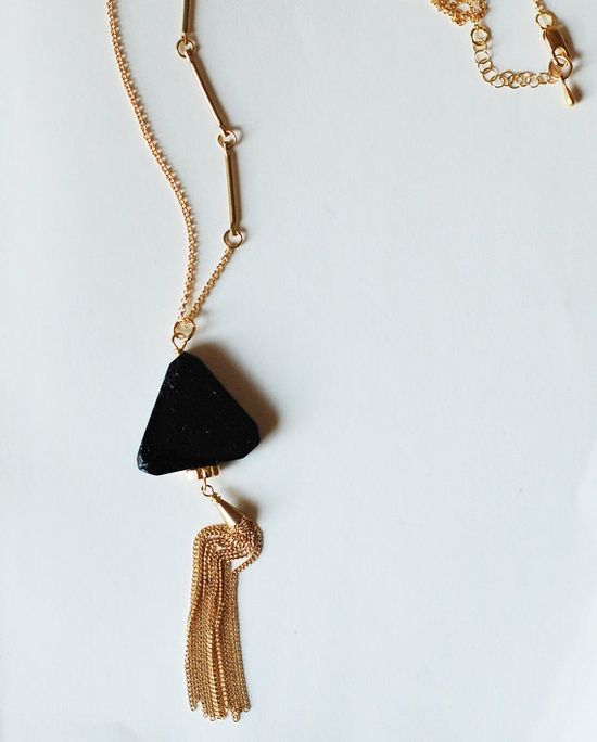 Triangle Tourmaline Necklace w/ Gold Tassel Chain by Sumikoshop on Etsy