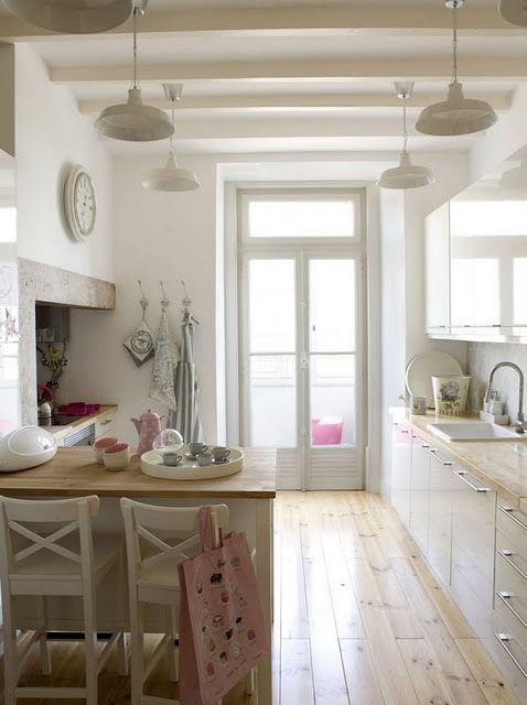 galley kitchen - white, wood, pastel