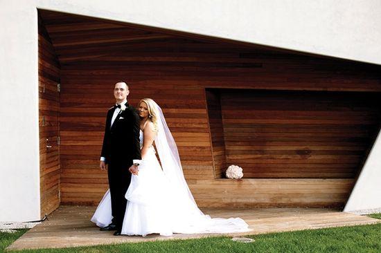 Bride + groom at Walker Art Center