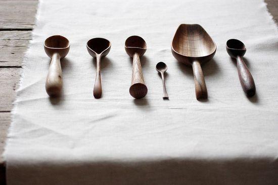 hand-carved wooden kitchen utensils