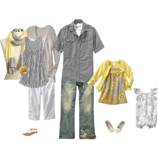 love the gray and yellow color scheme! Of course, we would not be needing the girl baby outfits on the right. This one is just for you and your husband.
