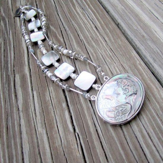 Cameo Bracelet Gray Jewelry Multi Strand by jewelrybycarmal, $70.00
