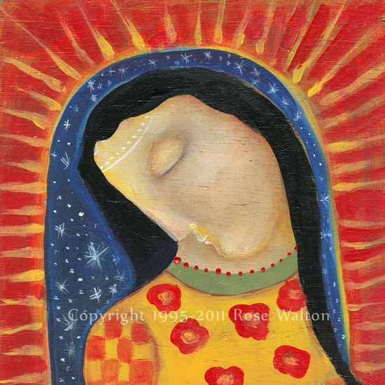 Our Lady of Guadalupe and the Bluebird primitive madonna religious folk art archival giclée print by Pennsylvania folk artist Rose Walton