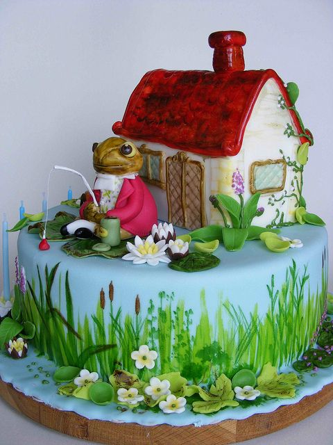 Mr Jeremy Fisher cake by bubolinkata, via Flickr