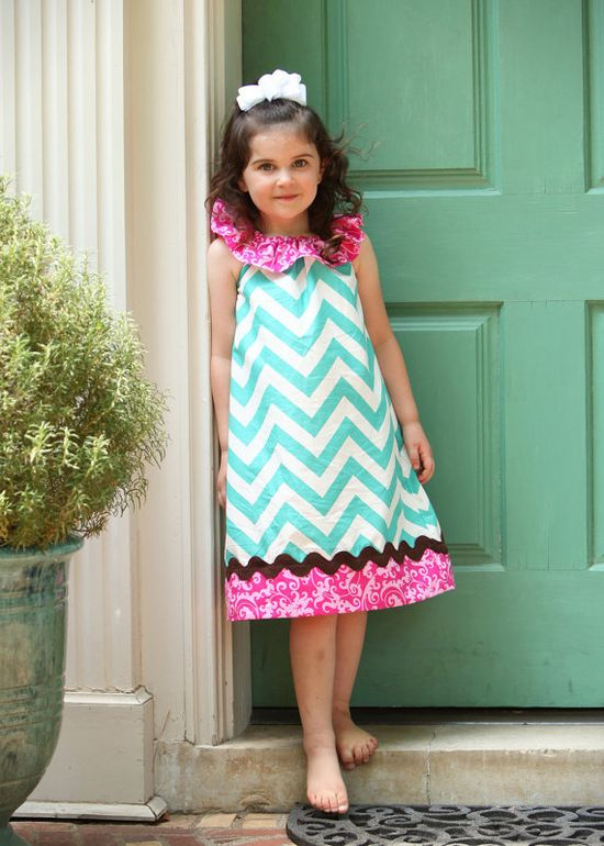 Turquoise & Pink Chevron Ruffle Dress with by mudpuddlesdandelions, $32.00