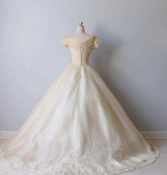 Vintage 1950s Silk Chiffon and Beaded Bodice Wedding Dress