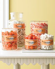 Orange and White Candy and Printable Labels