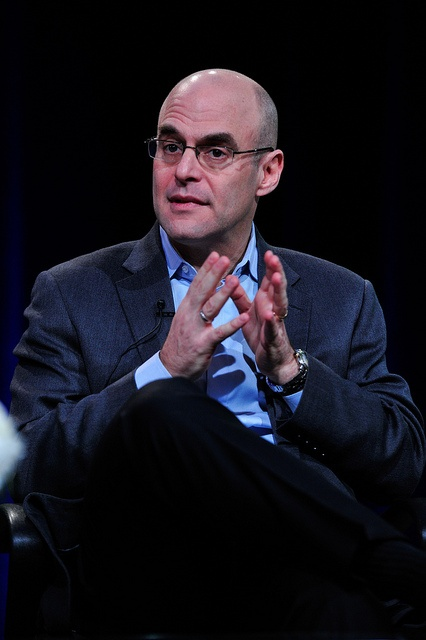 """""""I'm a nerd, but I'm a badass nerd,"""" Peter Sagal claims during PBS' CONSTITUTION USA with Peter Sagal session at the Television Critics Association Winter Press Tour. (photo: Rahoul Ghose/PBS)"""