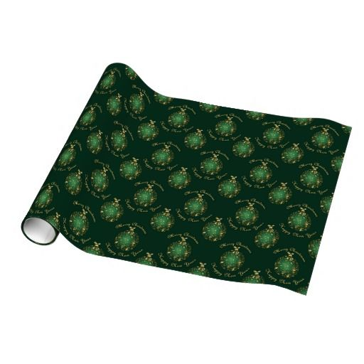 gold bauble - green gift wrap.
