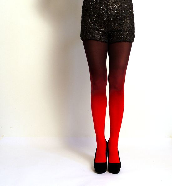 Ombre tights in Fire Red and Black - hand dyed opaque tights.