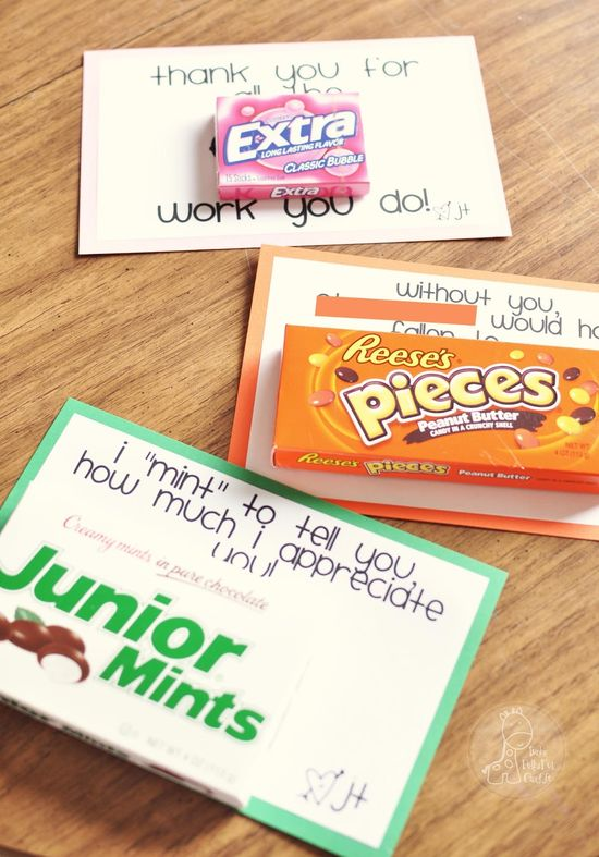DIY Thank You cards with candy.
