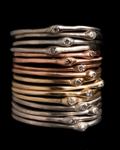 Stacking Gold and Silver Diamond Rings