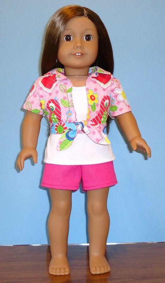 American Girl Tie Blouse tank shorts pink. $20.00, via Etsy.