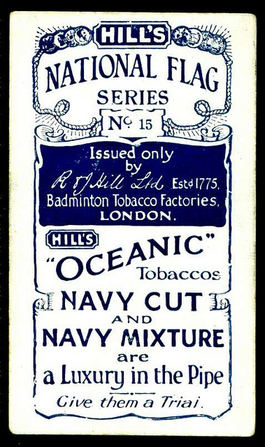 "Cigarette Card Back - Hill's ""Oceanic"" Tobacco #typography"