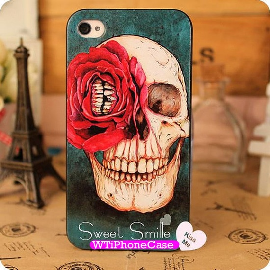 New Punk Skull Head iPhone 4 Case Unique iPhone 4s by WTiPhoneCase, $14.99