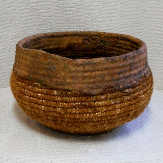 coiled basket with handmade paper rim