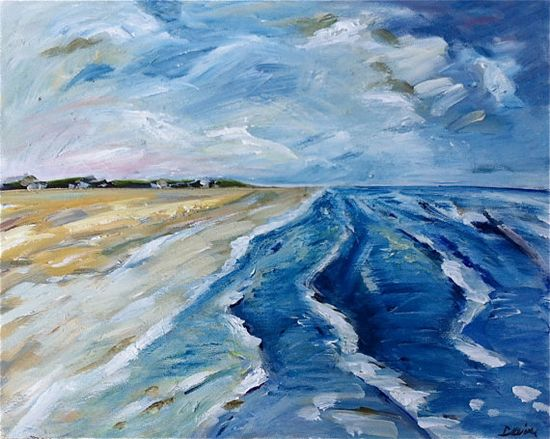 Large Abstract  Beach Painting on Canvas by DevinePaintings, $175.00