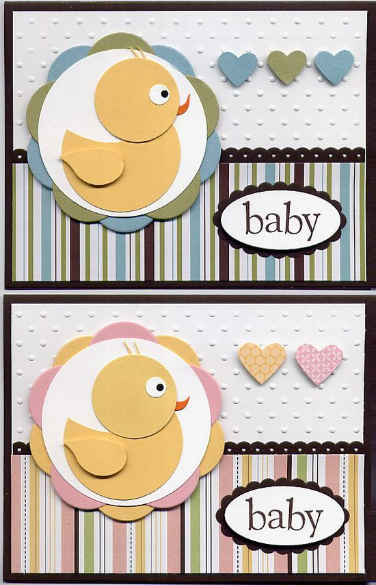 circle punches, bird punch, owl punch. New baby card