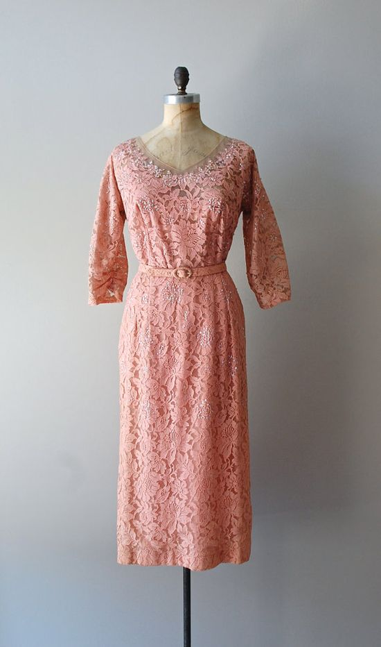 vintage 50s dress / lace 1950s dress / Sinfonietta lace dress