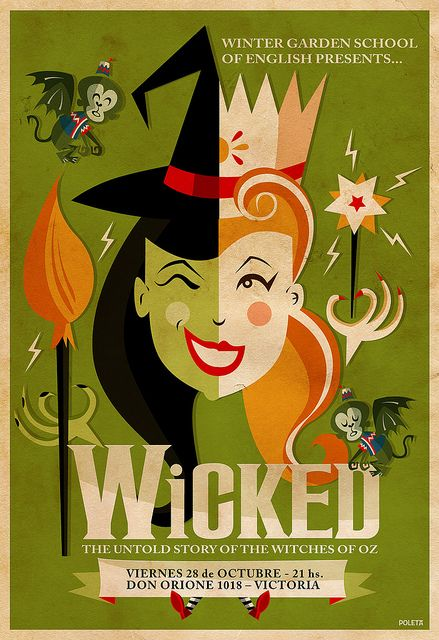 wicked poster. #GraphicDesign #broadwaymusicals
