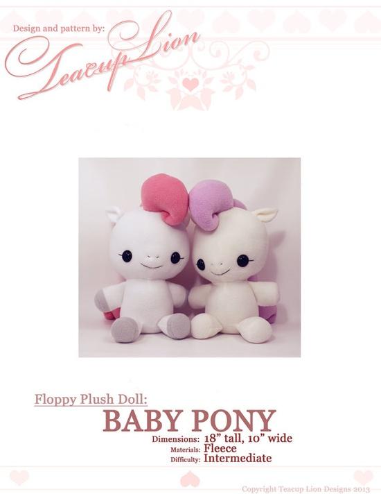 Plushie Sewing Pattern PDF Cute Soft Plush Toy - Hana Baby Pony Cuddly Stuffed Animal