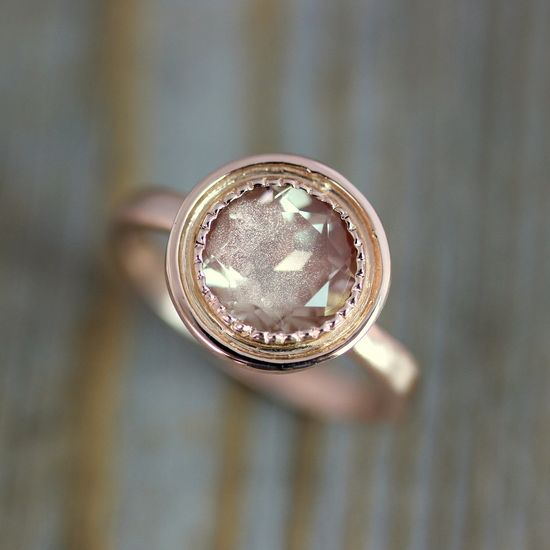 14k Rose Gold and Oregon Sunstone Halo Ring >>onegarnetgirl on Etsy