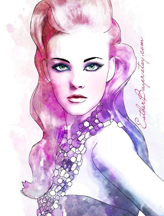 Watercolor Ink Fashion Illustration Fine Art Print by Esther Bayer, $32.50