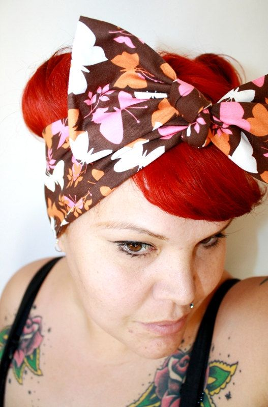 Bow hair tie Butterflies Summertime Retro by OhHoneyHush on Etsy, $12.00