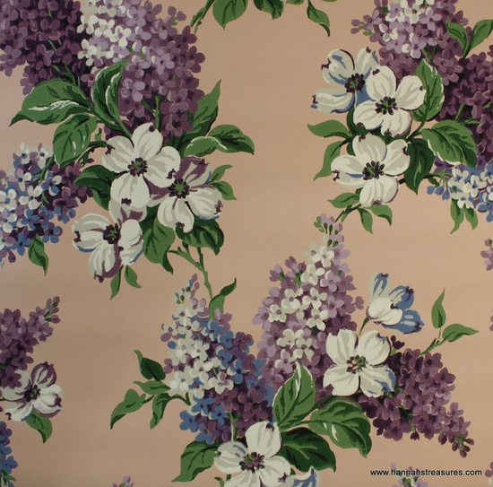 1940's Vintage Wallpaper Pink with purple and by HannahsTreasures, $14.00