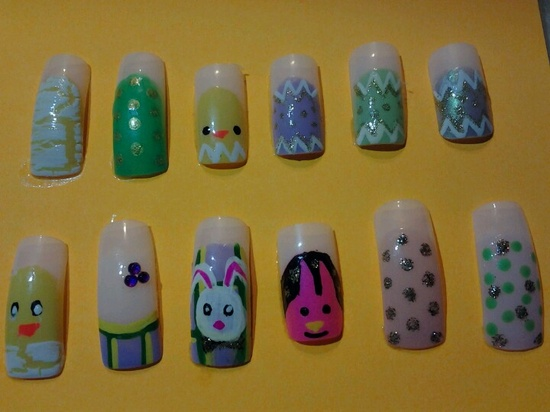 Cute baby animal Easter nails!